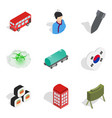 asian history icons set isometric style vector image vector image