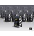 big group of black new oil barrels vector image