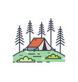 camping tent in pine woods outline vector image