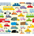 Cartoon car pattern City traffic jam Diverse vector image