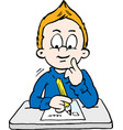 cartoon of a thoughtful school boy vector image vector image
