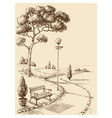 city park alley and bench hand drawing vector image