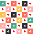 Colorful Card Suits Chess Board Background vector image vector image