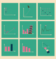 concept of stylish flat design icons graph vector image vector image