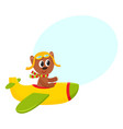 cute teddy bear pilot character flying on airplane vector image vector image