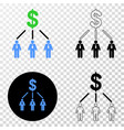 dollar managers links eps icon with contour vector image vector image