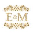 e and m vintage initials logo symbol vector image
