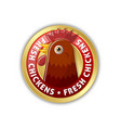 golden badge with chicken head and lettering vector image vector image