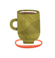 green cup with tea mug of delicious coffee hot vector image vector image