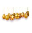 hanging gold easter eggs set 3d realistic egg