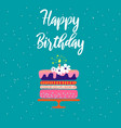 happy birthday card template with cake and vector image vector image