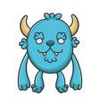 happy furry cartoon furry creature monster vector image