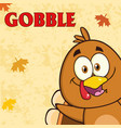 happy turkey bird cartoon character vector image vector image