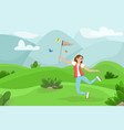 happy woman jumping with a net in his hands girl vector image vector image