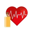 heart cardiogram and juice bottle icon vector image vector image