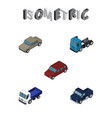 isometric automobile set of lorry truck auto and vector image vector image