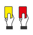 judge hands holding red and yellow cards vector image vector image