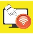 laptop wifi hand vector image vector image