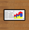 layer chart on tablet vector image vector image