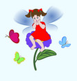 little fairy girl vector image