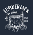 lumberjack wood timber stump with roots logo vector image vector image