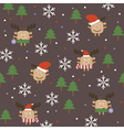 Merry Christmas deer seamless background vector image