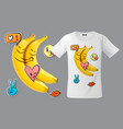 modern t-shirt print design with funny bananas vector image