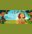 native indian american girl in autumn forest vector image vector image