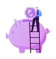 pension fund savings insurance tiny elderly man vector image