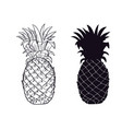 pineapple black silhouette hand drawn fruit vector image