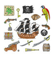 piratic pirating sailboat and parrot vector image