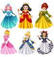 Queens in beautiful dresses vector image vector image