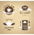 Restaurant menu emblems set textured vector image