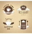 restaurant menu emblems set textured vector image vector image