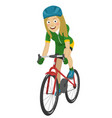 road bicycle woman riding her bike smiling vector image vector image