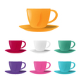 Set of cups with a saucers isolated on white vector image