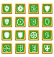 shield frames icons set green vector image vector image