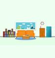 sofa orange in living room interior vector image vector image