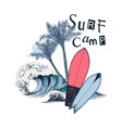 surf camp poster with surfboards palm trees and vector image