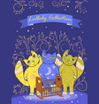 three cute fairy cats lull a child border or vector image