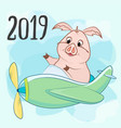 toy a propeller and a pig inscription 2019 vector image vector image