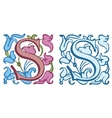 Vintage initials letter S vector image vector image