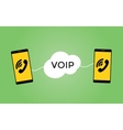 voip voice over protocol concept with two vector image