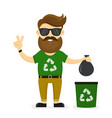 young smiling happy beard hipster eco vector image vector image