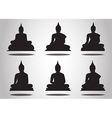 Set of Buddha Silhouettes on the white background vector image