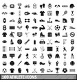 100 athlete icons set simple style vector image vector image