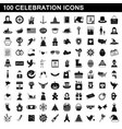 100 celebration icons set simple style vector image vector image