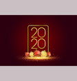 2020 new year banner with 3d christmas balls vector image