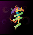 abstract bright color dancing girl with ribbon vector image vector image