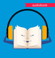 audiobook icon book with headphones vector image vector image